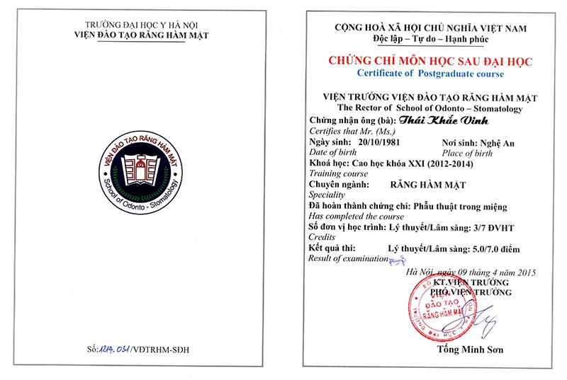 Chứng chỉ phẫu thuật trong miệng Thái Khắc Vinh