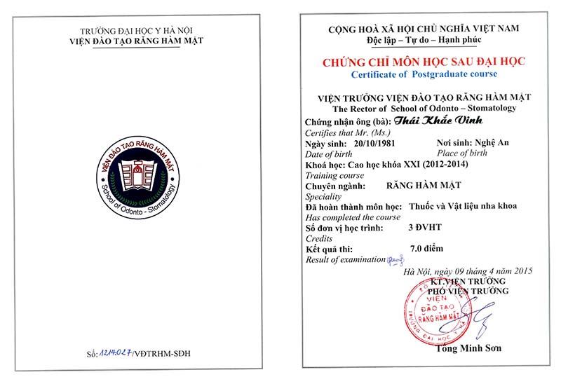 Chứng chỉ thuốc và vật liệu nha khoa Thái Khắc Vinh